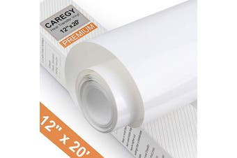 (White) - CAREGY Heat Transfer Vinyl HTV for T-Shirts 30cm by 6.1m Roll (White)