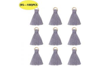 (Grey) - Wholesale Grey Silk Tiny Soft Tassels Charms with Golden Jump Ring Bulk for Jewellery Making and Crafts (95-100PCS)