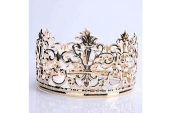 (Matted Golden) - Little Vintage Crown Cake Topper Royal Themed Baby Shower Decorations Princess And Prince Headpiece (Matted Golden)