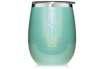 (Glitter Aqua) - BrüMate Uncork'd XL 410ml Wine Glass Tumbler With Splash-proof Lid - Made With Vacuum Insulated Stainless Steel (Glitter Aqua)