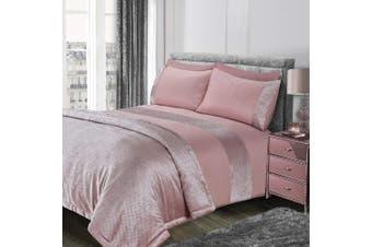 (Super King, Blush Pink) - Sienna Glitter Velvet Duvet Cover Set, Blush-Super King, Pink