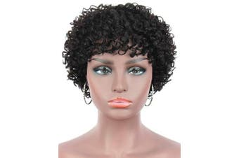 Beauart 100% Remy Human Hair Afro Short Kinky Curly Wigs for Black Women Bob Cut Stylish Natural Deep Curls Brazilian Human Hair Black Curly Wigs with Hair Bangs,Side Parted Natural Looking