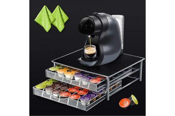 (coffee pod storage drawer) - Nespresso 72 Coffee Capsule Holder Rack 2-Tier Pod Storage Drawer Organiser and Coffee Machine Stand with 2 Microfibre Cleaning Cloths