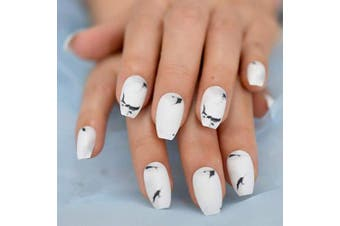 (L5182) - CoolNail White Marble Black Matte Press on Ballerina Coffin Fake Nail Marble Texture False Nails Daily Finger Wear with Glue Sticker