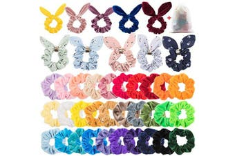 EAONE 40Pcs Scrunchies for Hair, Velvet Scrunchies Rabbit Ear Elastic Hair Bands Chiffon Floral Bow Scrunchy Hair Ties Bobbles Ponytail Holder for Women Girls and Ladies