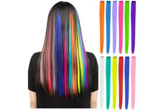 (A Rainbow) - 12 Pcs Coloured Party Highlights Colourful Clip in Hair Extensions 60cm Straight Synthetic Hairpieces for Women Kids Girls, Rainbow