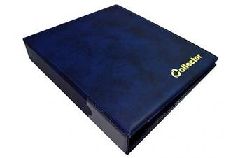 COLLECTOR Coin Album for 200 MEDIUM sizes coins 50p 50 pence £1 £2 €1 €2 - 10 pages and red dividers - BLUE