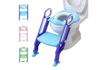 (Blue-Purple) - Potty Training Toilet Seat with Step Stool Ladder for Kid and Baby, Adjustable Toddler Toilet Training Seat with Soft Anti-Cold Padded Seat, Safe Handles and Non-Slip Wide Steps, Purple Blue for Boys