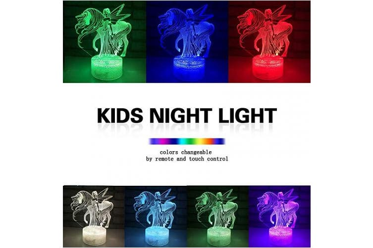 Night Light 16 Colours Changing 3D Optical Illusion Bedside Lamps with Remote Best Gift Idea for Kids Room Décor or Birthday Gifts for Girls Women (Unicorn New)