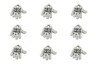 (hand made(Antique Silver)) - 100pcs Hand Made Lettering Charm Hand Shape Double-Side Pendant for DIY Bracelet Necklace Jewellery Making Findings(Silver Tone)