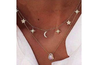CanB Layered Choker Necklace Crystal Pendant Drop Chain Necklace Fashion Moon Star Tassel Boho Jewellery Necklace for Women and Girls