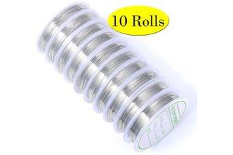 (21 Gauge, Silver Tone) - 44 Yards 10 Rolls Silver Tone Thin Jewellery Wire Rolls Bulk 21 Gauge Metal Crafting Artistic Wire Bulk for Jewellery Making & Craft