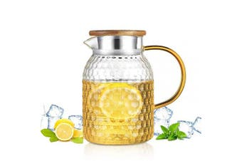 (1200ML/40oz) - Glass Pitcher with Bamboo Lid | 40 Ounce Stove Safe Pitcher,Home Office Iced Tea Spout Water Carafe for Hot Cold Wine Coffee Milk and Juice Beverage (1200ML/40oz)