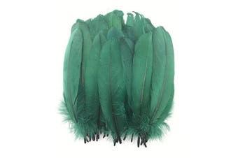 (Dark Green) - Celine lin 100PCS Dyed Home Decor Goose Feather for DIY Art,Home Party Or Wedding 15cm - 20cm ,Dark Green