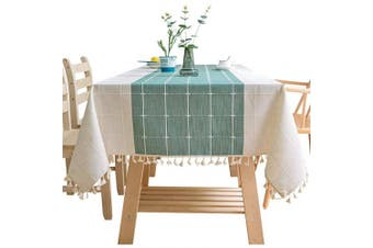 (110cm  x 170cm , Green) - Bettery Home Cotton Linen Rectangular Tablecloth Tassel Plaid Table Cloth for Dining Kitchen Room Tabletop Decoration, 110cm x 170cm