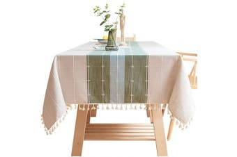 (110cm  x 170cm , Green Blue) - Bettery Home Cotton Linen Rectangular Tablecloth Tassel Plaid Table Cloth for Dining Kitchen Room Tabletop Decoration, 110cm x 170cm