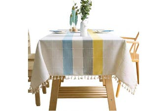 (140cm  x 220cm , Yellow Blue) - Bettery Home Cotton Linen Rectangular Tablecloth Tassel Plaid Table Cloth for Dining Kitchen Room Tabletop Decoration, 140cm x 220cm