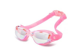 (Adult/Youth, Hyun Pink) - AINAAN Glasses, Leaking Anti-Fog Indoor Outdoor Swimming Goggles with UV Protection Mirrored Clear Lenses, Adult/Youth, Hyun Pink