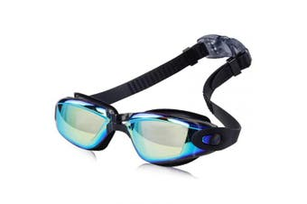 (Adult/Youth, Hyun black) - AINAAN Glasses, Leaking Anti-Fog Indoor Outdoor Swimming Goggles with UV Protection Mirrored Clear Lenses, Adult/Youth, Hyun black
