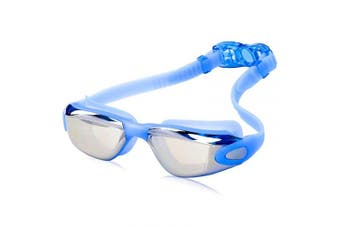 (Adult/Youth, Blue) - AINAAN Glasses, Leaking Anti-Fog Indoor Outdoor Swimming Goggles with UV Protection Mirrored Clear Lenses, Adult/Youth, Blue