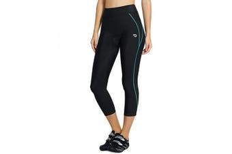 (Small, Blue Line) - Baleaf Women's 3D Padded Compression Cycling Tights 3/4 Pants Wide Waistband UPF 50+