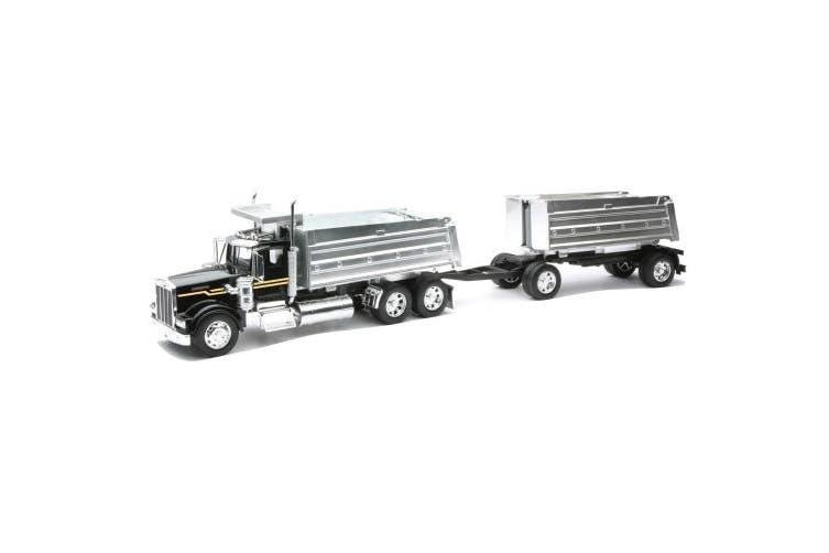 Newray 1/32 Scale Diecast Replica Kenworth W900 Double Dump Truck in Colour Black