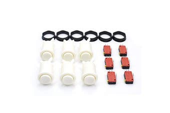 (White) - 6 Pcs Arcade Push Buttons HAPP Type Standard White with Microswitch Jamma MAME DIY Machine Console Cabinet New