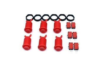 (Red) - 6 Pcs Arcade Push Buttons HAPP Type Standard Red with Microswitch Jamma MAME DIY Machine Console Cabinet New