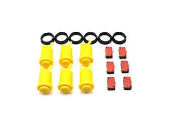 (Yellow) - 6 Pcs Arcade Push Buttons HAPP Type Standard Yellow with Microswitch Jamma MAME DIY Machine Console Cabinet New