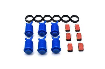 (Blue) - 6 Pcs Arcade Push Buttons HAPP Type Standard Blue with Microswitch Jamma MAME DIY Machine Console Cabinet New
