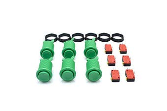 (Green) - 6 Pcs Arcade Push Buttons HAPP Type Standard Green with Microswitch Jamma MAME DIY Machine Console Cabinet New