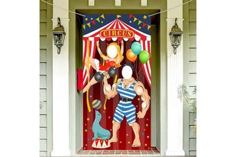 Carnival Circus Party Decoration Carnival Photo Door Banner Backdrop Props,Large Fabric Photo Door Banner for Carnival Circus Party Deco Carnival Game Supplies,1.8m x 0.9m