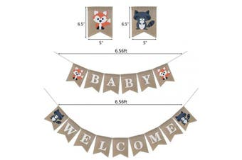 (A-style) - Woodland Welcome Baby Burlap Banner, Fox Welcome Baby Banner Woodland Creatures Banner Fawn Forest Animal Friends Garland for Baby Shower Party Supplies Decorations
