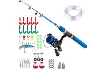 (115CM 45.27In, Blue set without Box) - Kids Fishing Pole,Light and Portable Telescopic Fishing Rod and Reel Combos for Youth Fishing by PLUSINNO