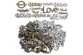 Inspirational Words Charm Pendants 100g Word Letter Bracelet Necklace Charm Connector Pendant (Hope Love Wish Believe KISS ME) Antique Silver Bronze for Crafts and Jewellery Making - Approx.70 Pieces