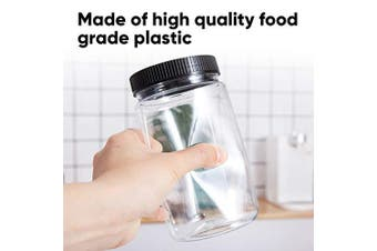 (1010ml) - 1010ml Plastic Jars with Lids, Accguan Durable Round Food Grade Air Tight Containers,Ideal for Kitchen & Household Storage of Dry Goods,Peanut Butter,set of 12