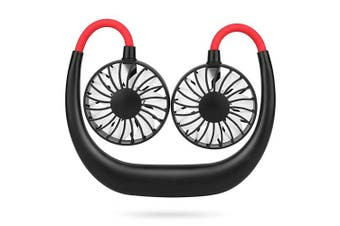 (Black Red) - Simpeak Usb Fan Portable Hand Free Necklace Fan Black Red, 3 Speed Setting 360° Adjustable Swivel Cooling Fan usb mini fan for Home and Travel