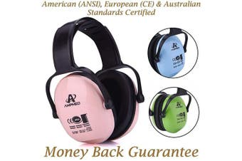 Amplim Hearing Protection Earmuff for Toddlers, Teens, Infants and Adults. Noise Cancelling Headphones for Kids. Autism Spectrum Ear Defenders - Aeroplane, Concert, Outdoor, School – Pink
