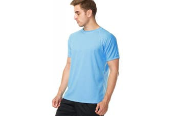 (XX-Large, Blue) - anfilia Men's Rash Guard Short Sleeve Swim Shirts Sportwear Loose Fit UPF 50+