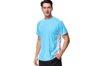 (Medium, Aqua-white (Splice)) - anfilia Men's Rash Guard Short Sleeve Swim Shirts Sportwear Loose Fit UPF 50+