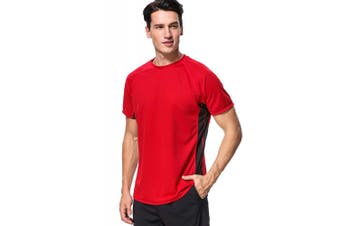 (Large, Red-black (Splice)) - anfilia Men's Rash Guard Short Sleeve Swim Shirts Sportwear Loose Fit UPF 50+
