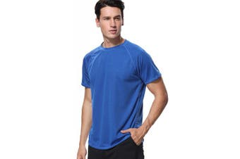 (Large, Navy) - anfilia Men's Rash Guard Short Sleeve Swim Shirts Sportwear Loose Fit UPF 50+