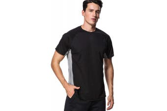 (Large, Black-gray (Splice)) - anfilia Men's Rash Guard Short Sleeve Swim Shirts Sportwear Loose Fit UPF 50+
