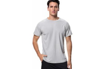 (XX-Large, Lignt Gray) - anfilia Men's Rash Guard Short Sleeve Swim Shirts Sportwear Loose Fit UPF 50+
