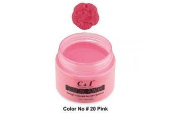 C & I Acrylic Powder, Colour # 20 Pink, 3 D Nail Flower, Sculpting Nail Powder, 40ml, 40 g, Nail Art Powders