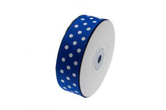 (Blue) - ATRibbons 25 Yards 2.5cm Wide Dot Printed Grosgrain Ribbons,Colour Grosgrain Ribbons with White Dots for Hair Bows Gift Wrapping and Craft (Blue)