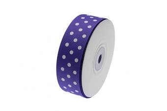 (Purple) - ATRibbons 25 Yards 2.5cm Wide Dot Printed Grosgrain Ribbons,Colour Grosgrain Ribbons with White Dots for Hair Bows Gift Wrapping and Craft (Purple)