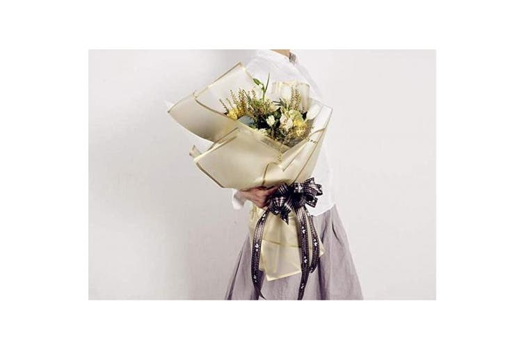 Frosted Flower Wrapping Paper White Lines Gift Packaging Florist Bouquet Supplies 20 Sheets (Gold)