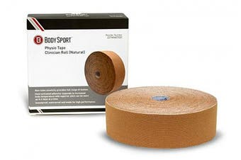 (5.1cm  x 5.5 yds, Natural) - Body Sport Physio Tape, Kinesiology Tape to Support Muscles and Joints, Prevent Injury