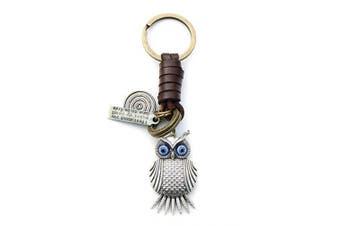 (Silver Owl) - AuPra Silver Owl Leather KeyRing Gift Women & Men Best Friend Home Bird KeyChain Mum & Dad Teacher Handbag Charm Key Ring Girl & Boy Car Pendant